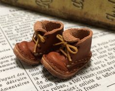 Real leather: miniature short boots [ORANGE BROWN] (for Blythe)