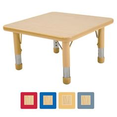 "Nature Color Toddler Square Table 24"" x 24"""