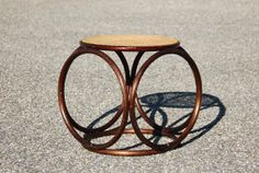 Mid Century Michael Thonet Bentwood and Caned Wicker Stool, Mid Century Modern Rattan and Cane Circle Side Table - SOLD!