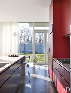 The kitchen in a modern Hudson Valley house designed by Toshiko Mori.  Photo: William Waldron