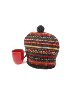 Fair Isle tea cozy Wool tea pot cosy Dark grey rust decor Sweater teapot cover…