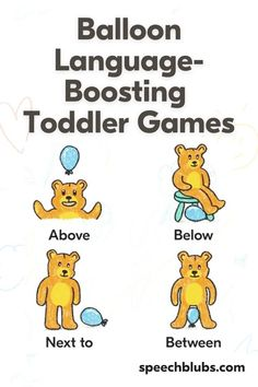 Looking to expand your toddler's vocabulary? Learning through play is where it is at when it comes to little kids! Read on to find 25 Balloon Games for Kids to Expand Vocabulary. They are bound to love it...and learn a lot! Balloon Games For Kids, Games For Toddlers, Positional Language, Present Tense Verbs, Improve Vocabulary, Balloon Words, Speech Room, Single Words, Language Development