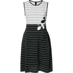 Carolina Herrera tweed colourblock knit dress ($1,470) ❤ liked on Polyvore featuring dresses, black, sleeveless colorblock dress, colorblock dresses, leaf dress, embroidery dress and knit dress