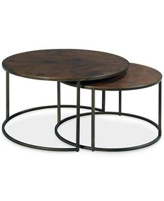 Copper Round 2-Piece Nesting Cocktail Table Set - Furniture - Macy's