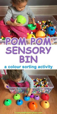 Pom Pom Sensory Bin & Colour Sorting – HAPPY TODDLER PLAYTIME