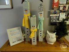 Winter Decor Ideas.. Love snowmen and love that they kind of blend with the normal decor of the home.