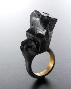 Black Crystal Ring - sculptural statement jewellery; wearable art // Claudia Cucchi