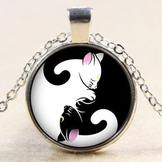 White Cat Black Cat Vintage Chic Kitten Glass Cabochon Long Sweater Necklace  Price: 4.26 & FREE Shipping  #pets #dog #doglovergifts