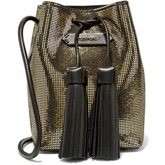 Tom Ford Sequined suede bucket bag ($1,000) ❤ liked on Polyvore featuring bags, handbags, shoulder bags, gold, suede pouch, shoulder strap bag, tom ford purse, sequin handbags and brown suede handbag