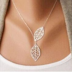 YANA Jewelry Gold And Silver Two Leaf Pendants - multi layer statement necklaces