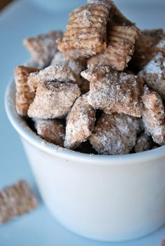 Cinnamon Churro Chex Mix. Literally tastes like little churros!