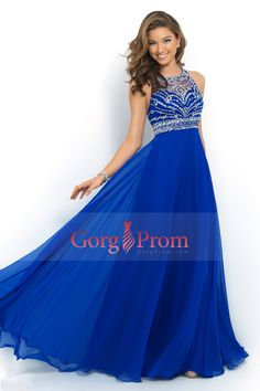 2015 Halter A-Line/Princess Prom Dresses Tulle And Chiffon Sweep Train