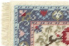 Miniature needlepoint tutorial - corner of a stitched carpet