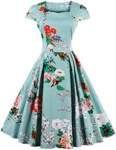 A brand new high quality cotton blend 1950s style rockabilly dress. Handmade and printed with bright Japanese blossom floral design. Size Type: Regular Occasion: Party Neckline: V Neck Style: 50s, Rockabilly Pattern: Floral Material: Cotton Blend Garment Care: Hand-wash only Length: