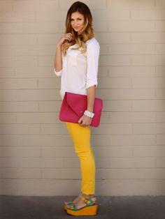 fresh tunic, sunny pants, bright clutch