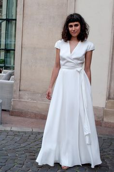 Perfect for a bride to be White Maxi Dresses, Maxi Wrap Dress, White Dress, Party Outfits, Simple Lines, Happily Ever After, Elegant, Fashion, Classy