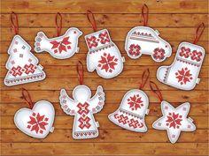 "Новорічні іграшки з вишивкою ""Класика"" , фото 1 Felt Christmas Decorations, Easy Christmas Crafts, Christmas Sewing, Christmas Toys, Christmas Gift Tags, Handmade Christmas, Handmade Ornaments, Xmas Ornaments, Felt Crafts Patterns"