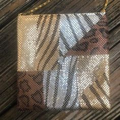 Vintage Gold Brown Silver Animal Print Metal Mesh Purse | Etsy Metal Mesh, Metal Chain, Monkey And Banana, Red Jewel, Pet Tiger, Floral Pins, Black Enamel, Vintage 70s, Purses And Handbags