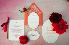 Zenadia Design created a simple and classic oval invitation for this ombre wedding shoot with Canvas and Canopy Events, La Partie Florals, and Becky Hill Photography.