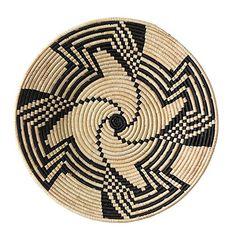 The Crabby Nook Black Swirl Design Fruit or Display African Basket Handwoven Home Decor Basket Weaving, Hand Weaving, Traditional Baskets, Basket Crafts, Basket Decoration, Tapestry Crochet, Swirl Design, Baskets On Wall, Woven Baskets