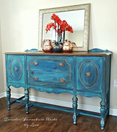 Blended Blue and Gold Buffet Makeover by Timeless Furniture Resto by Lisa - DIY Painted Furniture Makeovers Trendy Furniture, Diy Furniture, Blue Furniture, Furniture Refinishing, Wooden Trim, Painted Buffet, Antique Buffet, Patio Furniture Cushions, Hand Painted Furniture