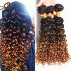 Grade 8A Ombre Brazilian Virgin Hair Deep Wave 3 Bundles Remy Brazilian Virgin Hair Ombre Blonde Deep Curly Hair Extensions