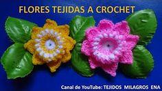 Flor tejida a crochet # 3 para tejer tapetes o carpetas con flores - YouTube