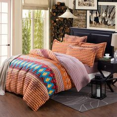 Ocean Wave Style Chevron Stripes Full, Queen Size Bedding Sets