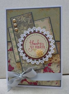 Vintage Thanks Sketch  I made this card for the third Verve Anniversary Challenge: a sketch. I thought all the layers on the sketch would work well with coordinating dp so I pulled out a Kaisercraft paper pad and went from there. The sentiment and little heart are from Verve. I added some ribbon, pearls and a little resin flower from Kaisercraft to finish.