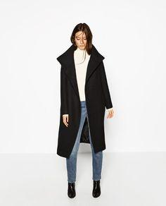 Image 1 of FUNNEL COLLAR COAT from Zara