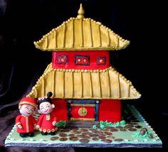 Chinese Pagoda Wedding cake - Chinese pagoda with bride and groom