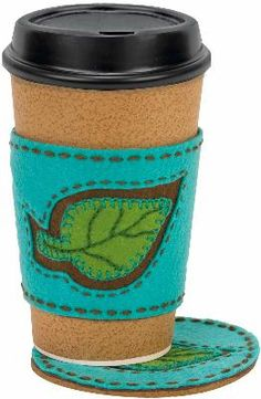 Handmade Leaf Coaster & Coffee Cozy Embroidery Kit-4''X8''