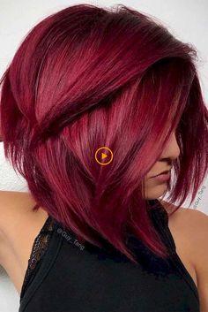 Burgundy Hair Color Shades: Wine/ Maroon/ Burgundy Hair Dye Tips rotblond Short Red Hair, Stylish Short Hair, Dark Red Hair, Short Hairstyles For Thick Hair, Short Hair Styles, Bob Hairstyles, Red Bob Hair, Wine Red Hair, Short Hair Cuts For Women