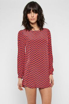 Zig Zag Dress in Coral and Navy $37 at www.tobi.com I would def have to wear pants under this :)