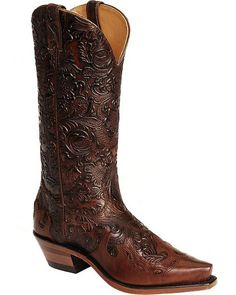 Have: Fit perfectly, new favorite. Boulet Hand Tooled Calf with Wingtip Cowgirl Boots - Snip Toe