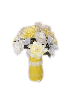 Yellow Wedding centerpieces, Wedding decorations, Quinceanera, Baby Shower decor, Bridal Shower decor, Silk flowers, Fake flower, home decor - pinned by pin4etsy.com