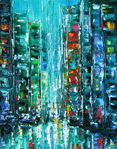 Debra Hurd Original Paintings AND Jazz Art: New York City cityscape art painting abstract by Debra Hurd