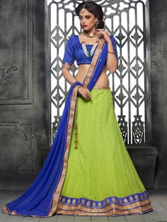 Green Net Lehenga Choli with Diamonnd Work