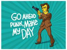 """Go ahead punk, make my day!"" -Dirty Harry - Simpsonized by ADN"