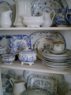Ironstone and Blue Transferware Collection by Marcela Cavaglieri, via Blue Dishes, White Dishes, White Pitchers, Blue And White China, Blue China, Vintage Dishes, Vintage China, Chinoiserie, White Decor