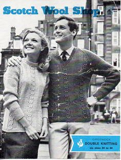 womens mens sweater knitting pattern pdf vintage 60s ladies cable jumper 34-44 inch DK light worsted 8ply pdf download by coutureknitcrochet on Etsy