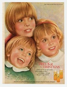 1973 Vintage print ad Hair Breck Shampoo at Christmas Beautiful children art ad Retro Advertising, Vintage Advertisements, Vintage Ads, Vintage Prints, Vintage Posters, Ghost Of Christmas Past, Christmas Ad, Breck Shampoo, Seventeen Magazine