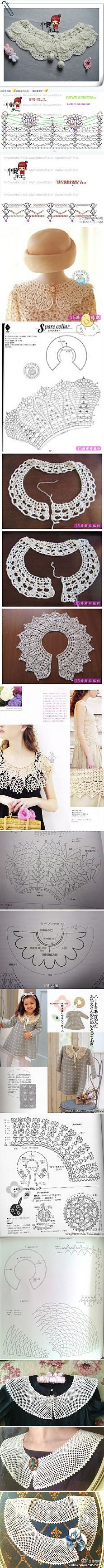 Knit crochet collar and napkins.  Schemes attached ..