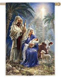 Jesus, Mary and Joseph are beautifully depicted on this Christmas Nativity themed house flag while the star of Bethlehem shines brightly overhead. Christmas Nativity Scene, Christmas Banners, Christmas Time, Family Christmas, Christmas Garden, Christmas Decorations, Mosaic Crosses, Star Of Bethlehem, Birth Of Jesus