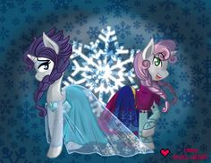 Rarity and Sweetie Bell as Elsa and Anna