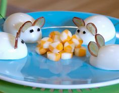 Egg Mice, so cute! The directions are not here :[ but it looks like eggs & almonds for the mice and string cheese.