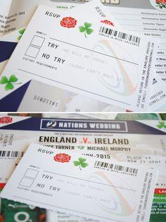 Ireland rugby wedding invitation http://www.wedfest.co/ireland-vs-england-rugby-ticket-wedding-invitations/
