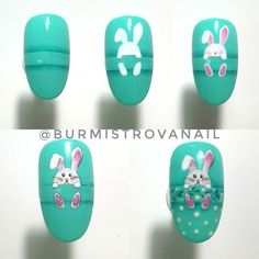 Nail art is a very popular trend these days and every woman you meet seems to have beautiful nails. It used to be that women would just go get a manicure or pedicure to get their nails trimmed and shaped with just a few coats of plain nail polish. Easter Nail Designs, Easter Nail Art, Best Nail Art Designs, Bunny Nails, American Nails, Halloween Nail Art, Nail Decorations, Holiday Nails, Cool Nail Art
