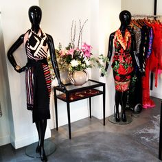 Left Mannequin: Christian Dior 1960's Silk Scarf, Black Tuxedo Scarf, Jean-Louis Scherrer Pink and Black Scarf.    Right Mannequin: Kenzo Red Silk Scarf and Louis Féraud 1970's Black and Red Belt.