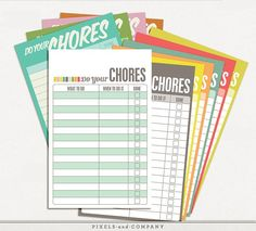 Terrific printable chore chart sets from Pixels and Co. Some can be customized or edited before you print